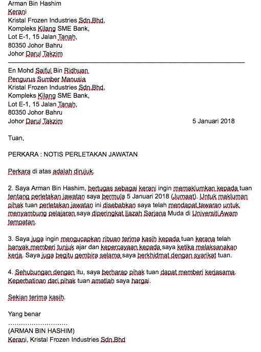 Link Download Template Surat Berhenti Kerja Dalam Pelbagai